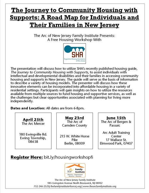 Free Housing Workshop: The Journey to Community Housing with Supports (Mercer County)