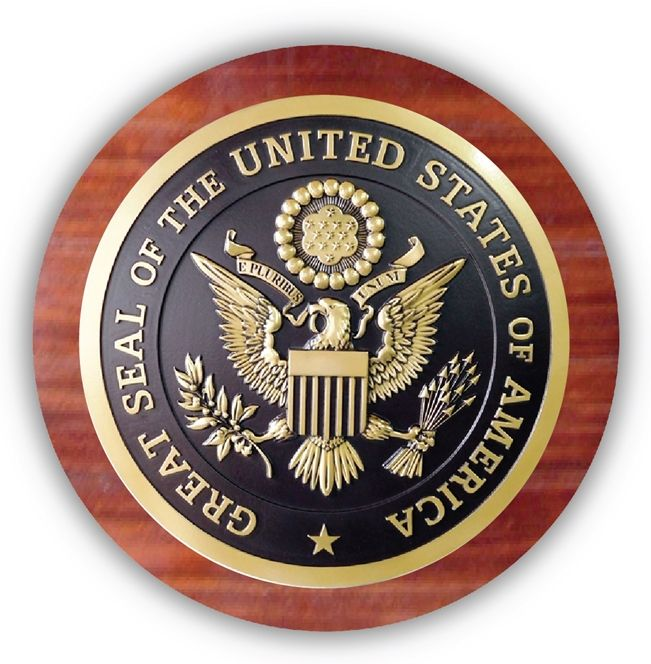 EA-2025 - Great Seal of the United States Mounted on a Mahogany Plaque