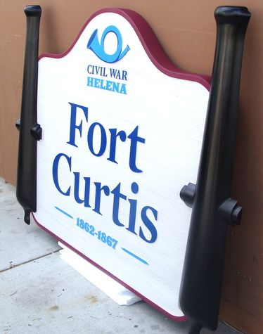 G16242 - Historical Park Entrance Sign, 3D Carved (Side View)