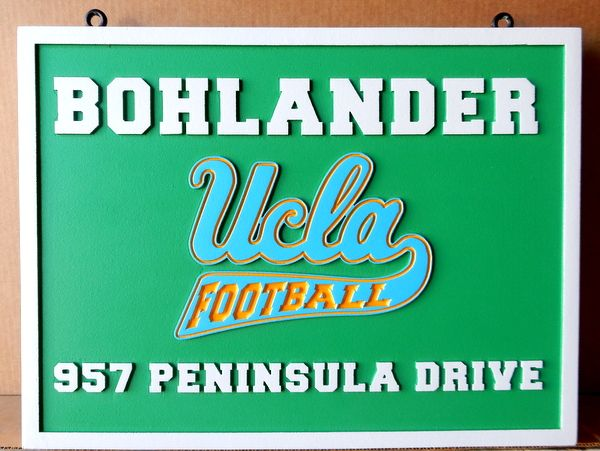RP-2000 - Carved Wall Plaque of  the Logo of UCLA Football,  Artist Painted