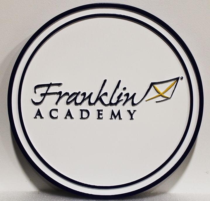 TP-1330 - Carved Plaque of the Seal for the Franklin Academy, 2.5-D Artist-Painted