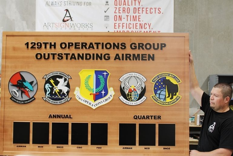 SB1105 - Carved Redwood Award PhotoBoard for Outstanding Airmenof the 129th Operations Group