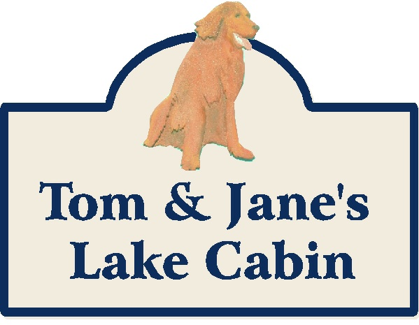 M22928 - Design of Carved HDU or Wooden Sign for Lake Cabin with Golden Retriever
