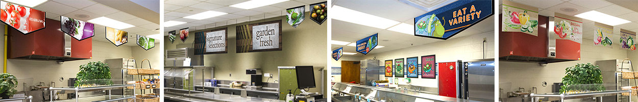 4 pictures of food banners in school café, custom banners, food art