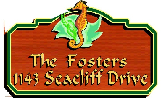 L21989 - Design of Coastal Residence Address Wood Sign with Seahorse, Ocean and Kelp