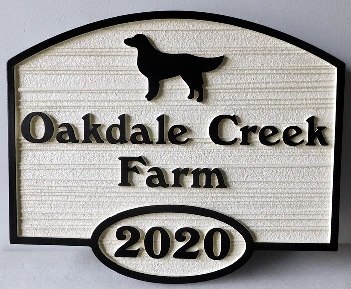 "O24507 - Carved and  Sandblasted Sign for ""Oakdale Creek Farm"" with Silhoette of Dog"