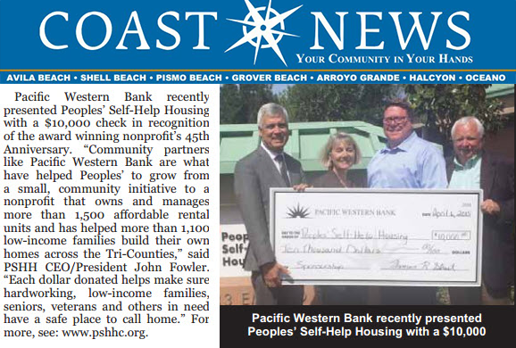 Peoples' Self-Help Housing Presented with $10,000 - Coast News