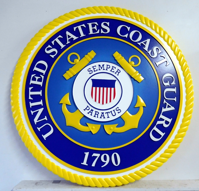 NP-1080- Carved Plaque  of the Great Seal of the US Coast Guard, Artist Painted