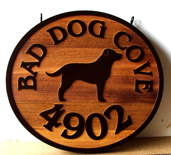 "M22931 - Rustic Sandblasted Cedar Address  Sign ""Bad Dog Cove"", with Dog in Profile"