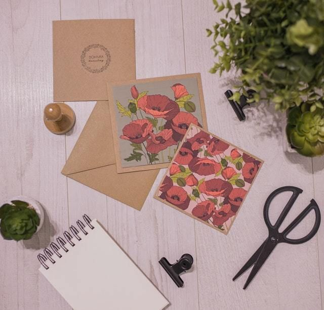 greeting cards with scissors and paper