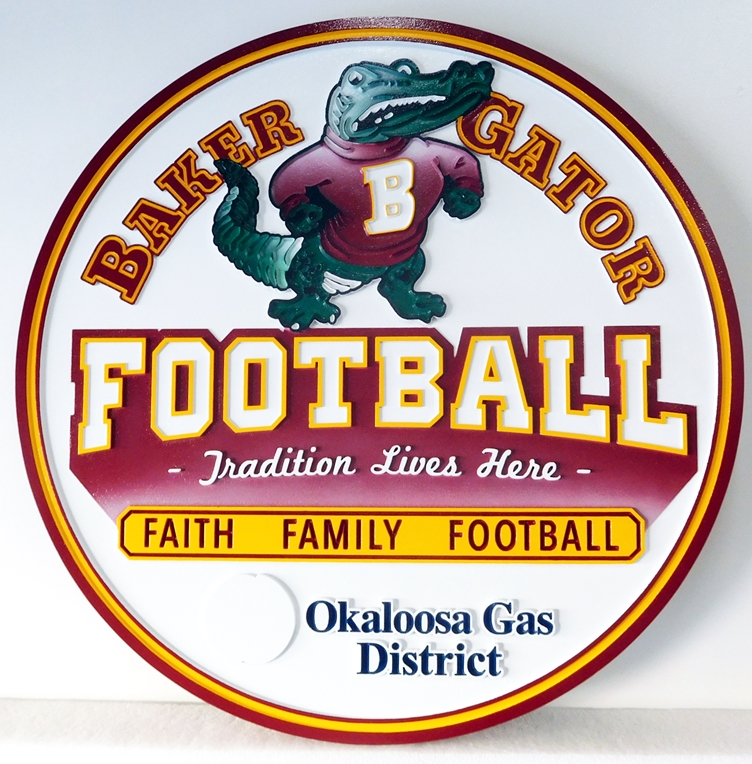 WP-1160 - Carved Wall Plaque of Logo for Baker Gator Football,  Artist Painted