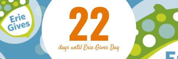 July 22, 2019 Erie Gives email reminder: 22 days until Erie Gives 2019!