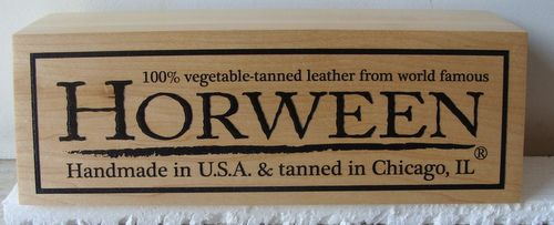 "SB28977 - Carved Cedar Wood plaque ""Horween Leather Products"" for a Store  Display of the Brand"
