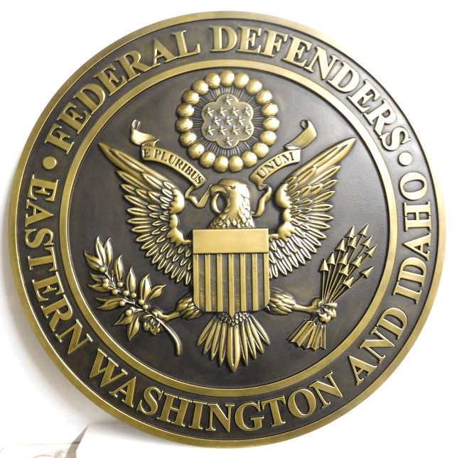 M7143 - 3D  PolishedBrass Wall plaque for the Federal Defenders Club