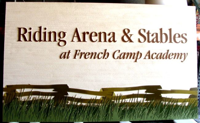 """P25152 - Riding Arena and Stables Sign, """"French Camp Academy"""" with Scene of Split Rail Fence"""
