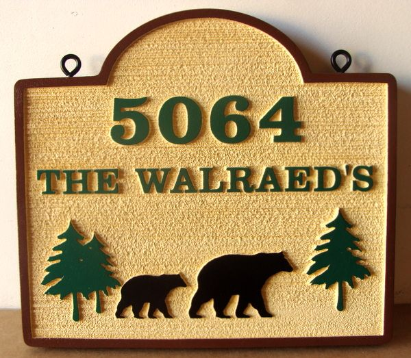 M22864 - Carved and Sandblasted Cabin Address Sign, with Bears and Trees
