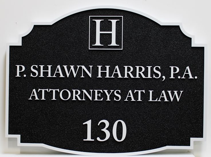 A10337 - Carved HDU  Sign for the Law Offices of P. Shawn Harris, P.A., Attorneys At Law