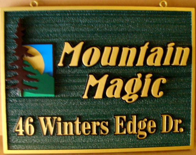 "M22247 - Carved ""Mountain Magic"" Cabin  Sign with a  Lone Tree and  Mountain"