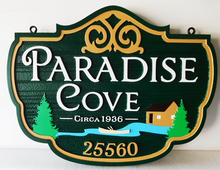 "M22423 - Carved Address and Name Sign for ""Paradise Cove"", with Boat, Trees, Water and Cabin as Artwork"