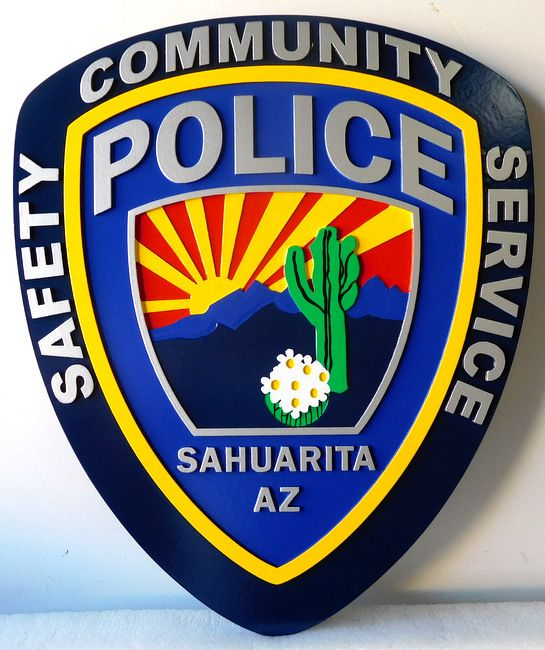 PP-2300 - Carved  Wall Plaque of the Shoulder Patch of the Sahuarita Police, Arizona, Artist Painted