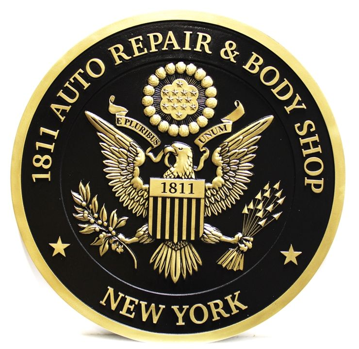 """SA28848 - Carved 3-D Bas-relief HDU Sign  for the """"1811 Auto Repair and Body Shop"""", with US Great Seal as Artwork"""