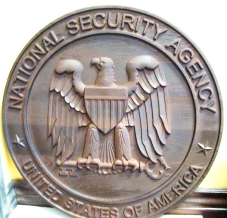 AP-3120 - Carved Plaque of the Seal of the US National Security Agency (NSA),  Stained Cedar  Wood