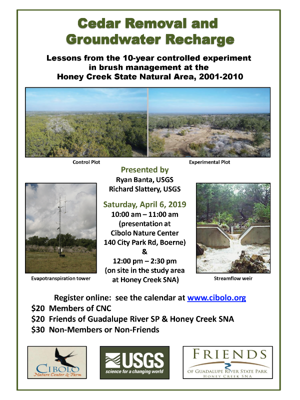CNC and Honey Creek SNA: Cedar Removal & Groundwater Recharge Workshop/Field Trip