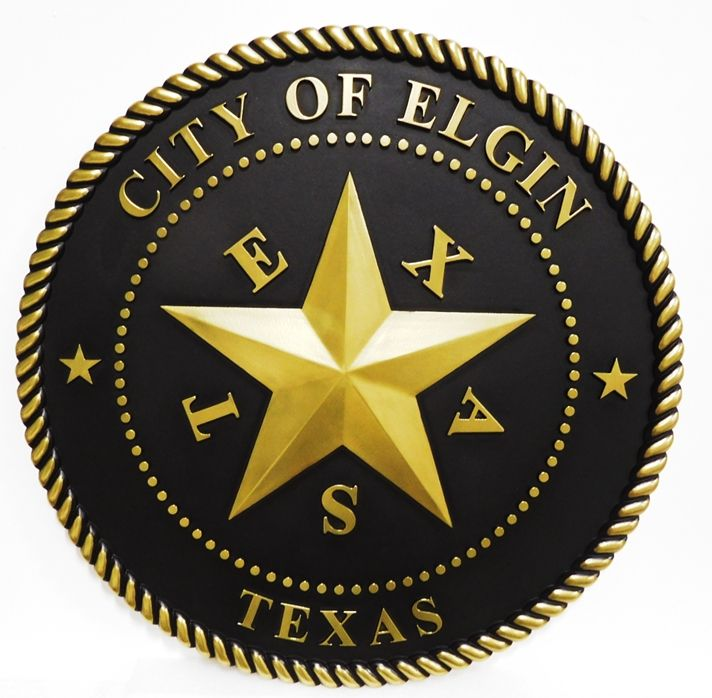 DP-1490 - Carved Wall Plaque of the Seal of the City of Elgin, Texas, 3-D , Brass Metal Plated