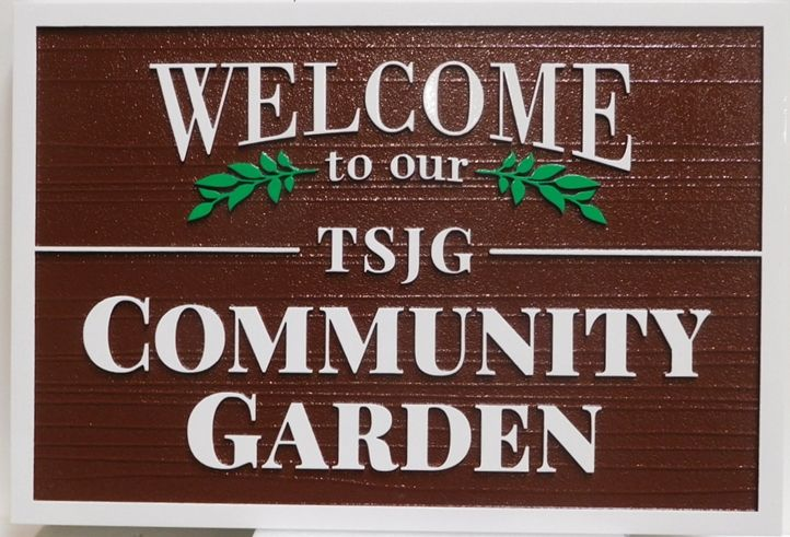 GA16441 - Carved High-Density-Urethane (HDU)  Sign for the TSJG Community Garden.