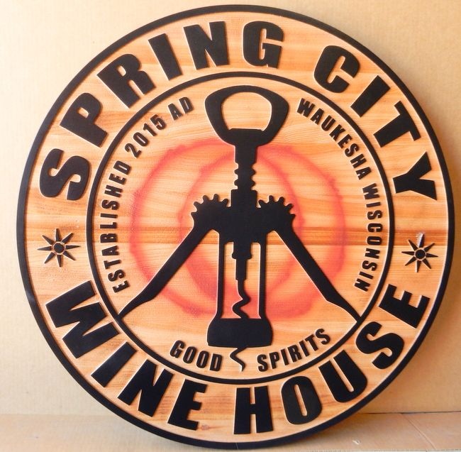 R27353 - Round Cedar Spring City Winehouse Sign, with Raised Text and Corkscrew