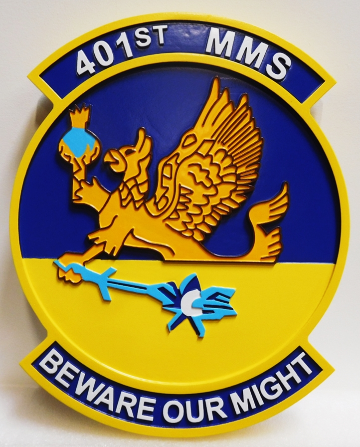 LP-2840 - Carved Plaque of the Crest of the Air Force 401st MMS, 2.5-D Artist-Painted