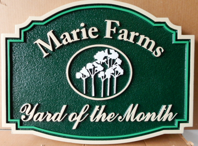 "KA20926 - Carved and Sandblasted Yard-of-the-Month Sign for ""Marie Farms"" HOA"