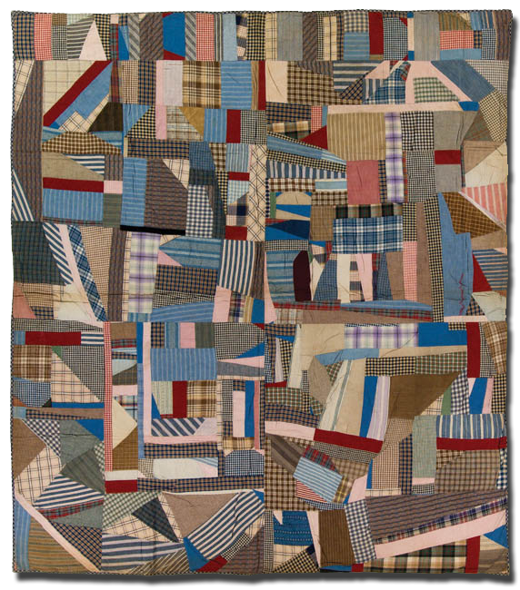 Crazy quilt, maker unknown, possibly made in New Jersey, United States, circa 1900-1920, 73.5 x 65 in, IQSCM 2003.003.0144