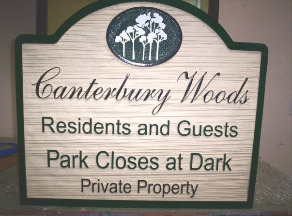 KA20750 - Wood Carved Look HDU Sign for Park Residents and Guests, Park Closes at Dark, Private Property