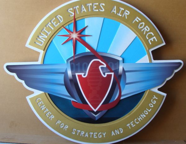 V31669 – Carved 3-D Wall Plaque of the Crest of the US Air Force Center for Strategy and Technology, with  Stylized Wings and Eagle