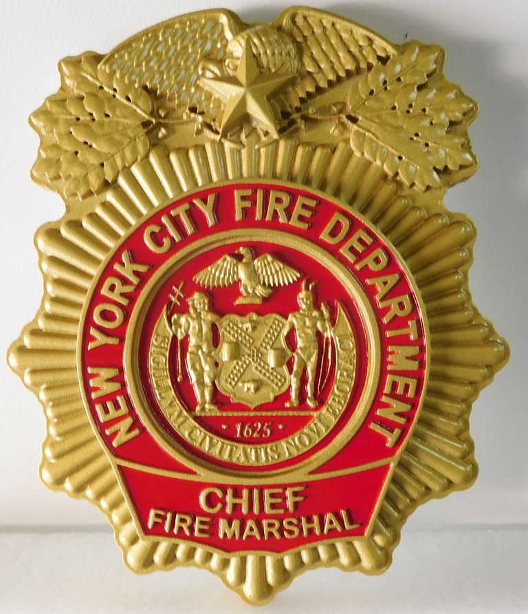 X33503 - Intricately Carved HDU Wall Plaque of the Badge  of the New York City Fire Department (Chief Fire Marshal)