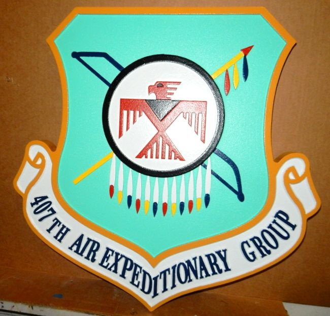 LP-2200 - Carved Shield Plaque of the Crest of the 407th Air Expeditionary Group,  Artist Painted