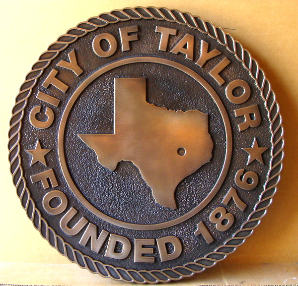 X33215A -2.5-D Carved Bronze Plaque of the Seal of the City of Taylor, Texas