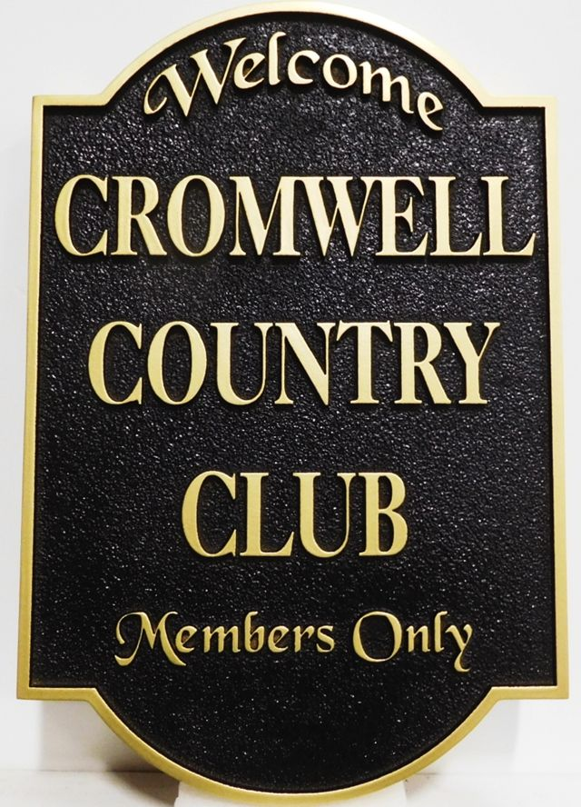 E14017 - Carved  and Sandblasted Sign for the Cromwell Country Club, 2.5-D raised Relief  Artist-Painted