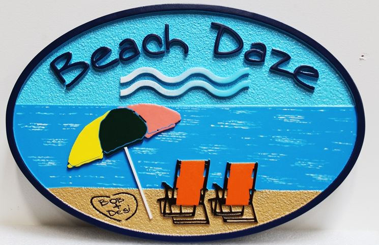 "L21021 -  Carved and Sandblasted   Beach House Sign, ""Beach Daze"", with Two  Chairs and Umbrella'"