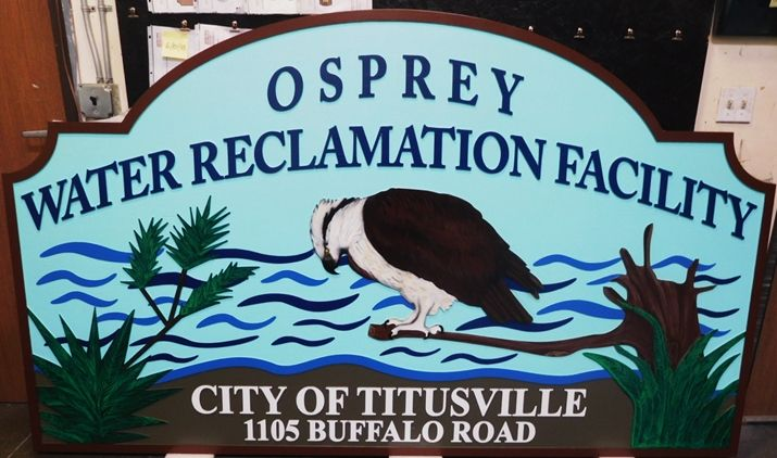 G16326 - Large Carved and Sandblasted Wood Grain Entrance and Address Sign for the Osprey Water Reclamation Facility