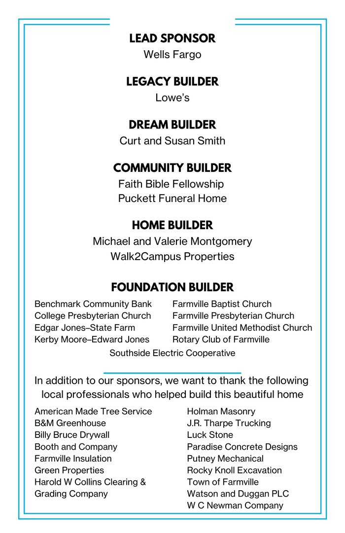 List of sponsors and builders