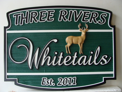 M22606 - Carved HDU Property Name Sign with 3-D Whitetail Deer, in Three Rivers