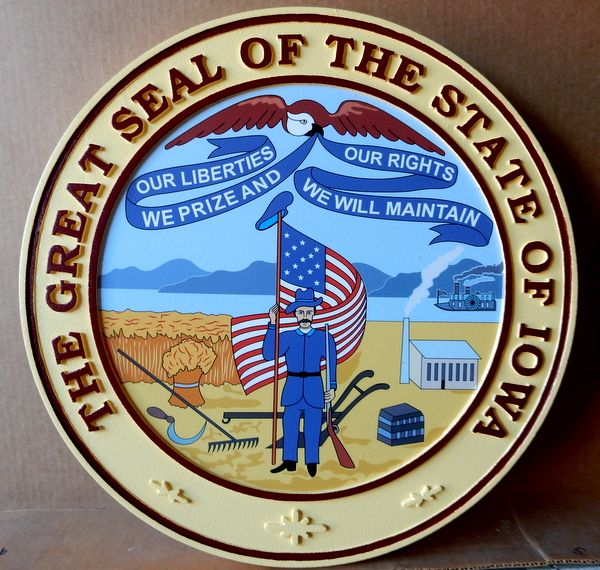 BP-1220 - Carved Plaque of the Great Seal of the State of Iowa, Artist Painted