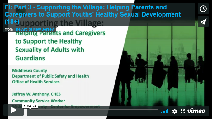 Part 3 - Supporting the Village: Helping Parents and Caregivers to Support Youths' Healthy Sexual Development (Adulthood 18+)