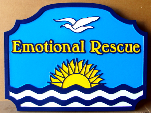 "L21218  – Carved 2.5-D HDU Beach House Sign ""Emotional Rescue"", with Stylized Ocean, Seagull and Sunset"