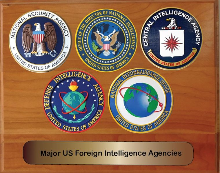 EA-1040- Five Intelligence Agency Seals with Printed  Giglee Vinyl Seals Mounted on Mahogany Veneer Plaque