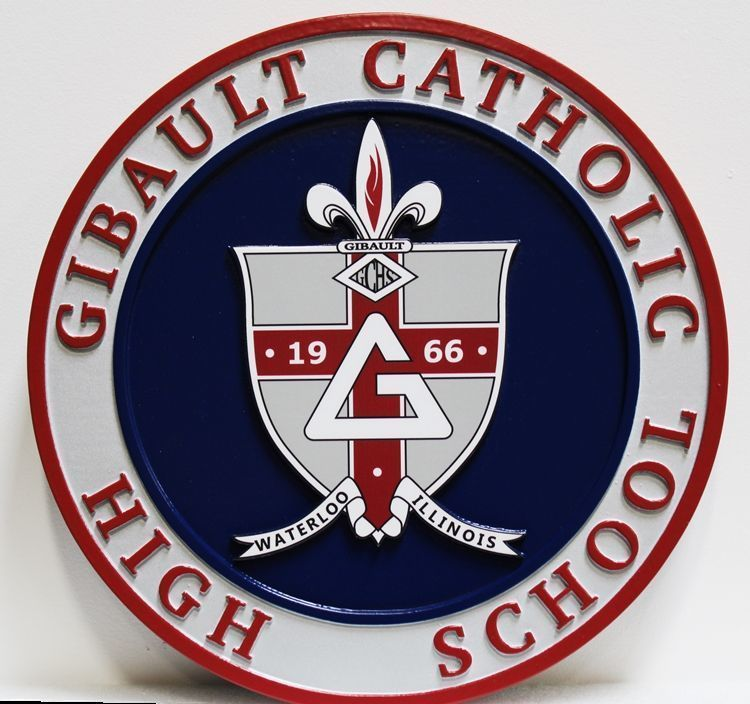 Y34713 - Carve 2.5-D HDU  Plaque of the Seal of Gibault Catholic High School