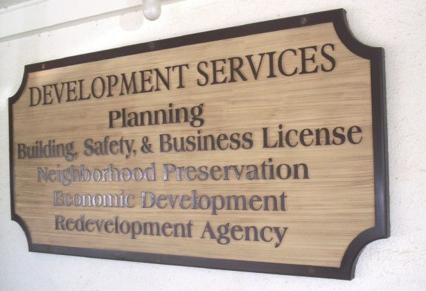 F15590 - Sandblasted, Wood Look, Carved HDU Sign for Building, Safety and Business Licenses, Economic Development