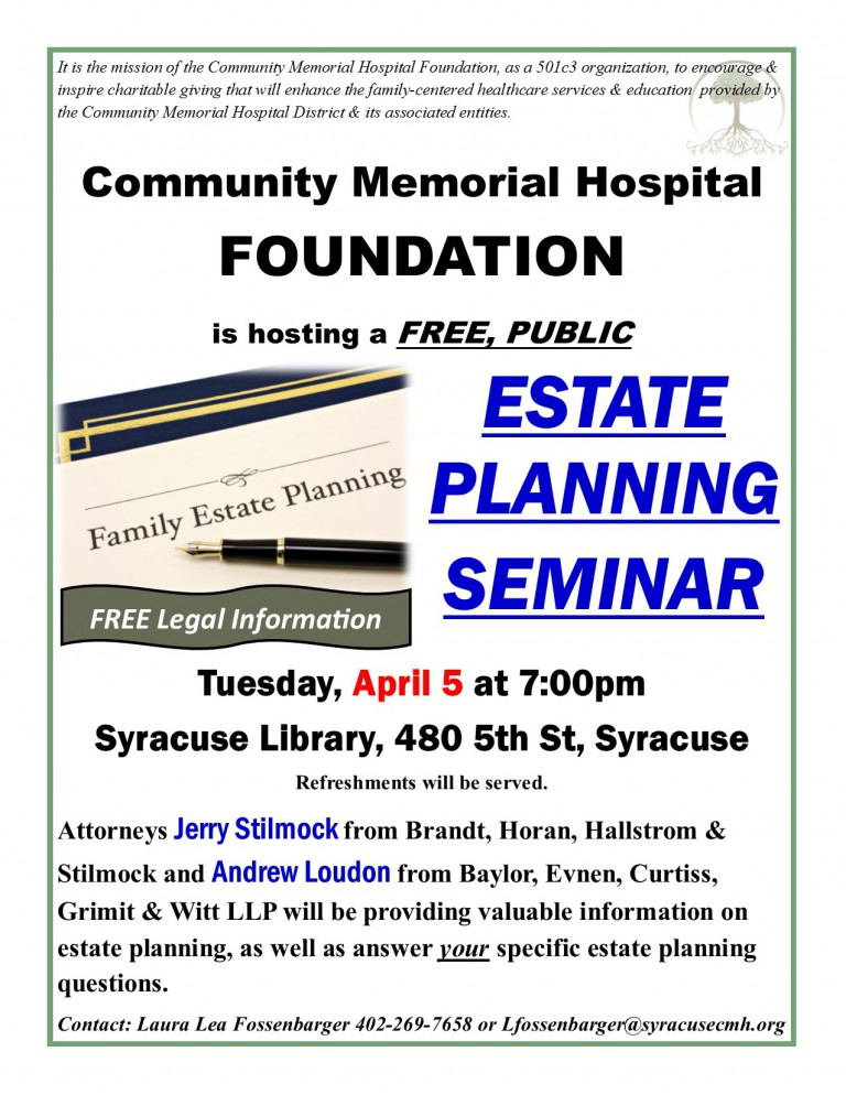 CMH Foundation To Host FREE, PUBLIC Estate Planning Seminar – April 5, 2016